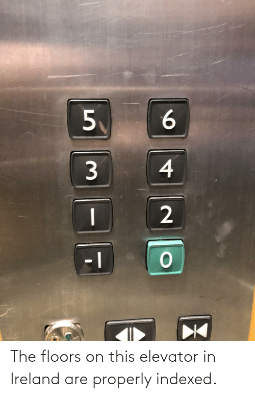 Floors: 6.  4  2. The floors on this elevator in Ireland are properly indexed.