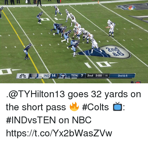 Indianapolis Colts, Memes, and 🤖: 6 IND  14  TEN 7 2nd 2:00 :15  2nd & 6  9-6 .@TYHilton13 goes 32 yards on the short pass 🔥 #Colts  📺: #INDvsTEN on NBC https://t.co/Yx2bWasZVw