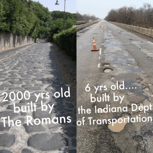 Dept: 6 yrs old....  2000 yrs old  built by  built by  the Indiana Dept  The Romans of Transportation