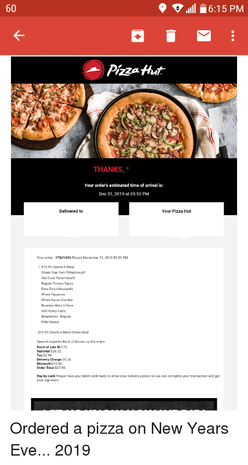 60 1111 61 5 Pm Pizza Aut Thanks Your Orders Estimated Time