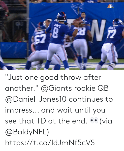 """Wait Until: 67 """"Just one good throw after another.""""  @Giants rookie QB @Daniel_Jones10 continues to impress... and wait until you see that TD at the end. 👀(via @BaldyNFL) https://t.co/IdJmNf5cVS"""