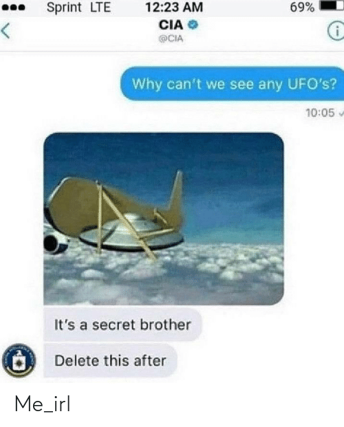 secret: 69%  Sprint LTE  12:23 AM  CIA  <>  @CIA  Why can't we see any UFO's?  10:05  It's a secret brother  Delete this after Me_irl