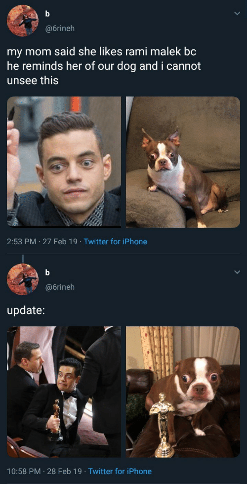 Iphone, Twitter, and Mom: @6rineh  my mom said she likes rami malek bc  he reminds her of our dog and i cannot  unsee this  2:53 PM 27 Feb 19 Twitter for iPhone   @6rineh  update:  10:58 PM 28 Feb 19 Twitter for iPhone