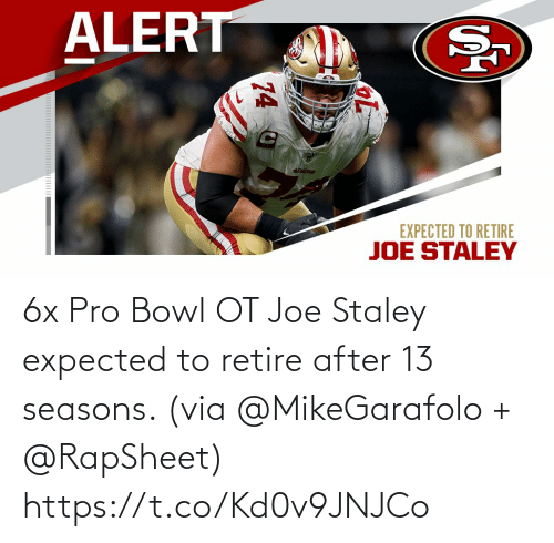 joe: 6x Pro Bowl OT Joe Staley expected to retire after 13 seasons. (via @MikeGarafolo + @RapSheet) https://t.co/Kd0v9JNJCo