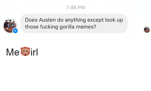 Doe, Fucking, and Meme: 7:46 PM  Does Austen do anything except look up  those fucking gorilla memes? Me🐵irl