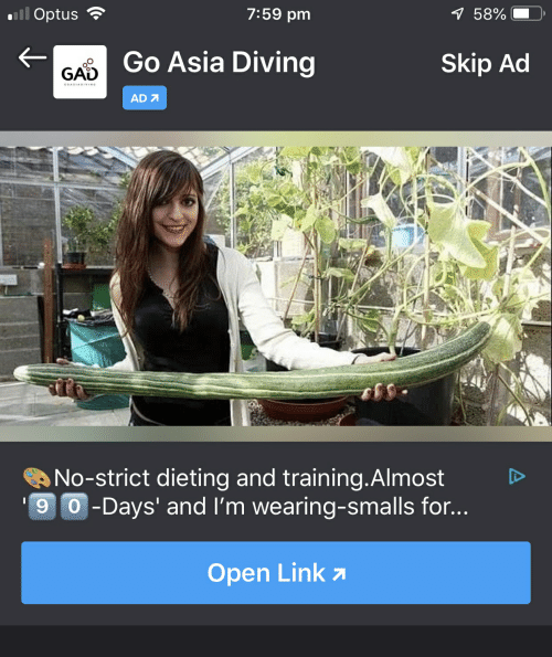 Link, Asia, and Open: 7:59 pm  Go Asia Diving  Skip Ad  GAD  AD 7  No-strict deting and training·Almost  9 -Days' and I'm wearing-smalls for..  Open Link