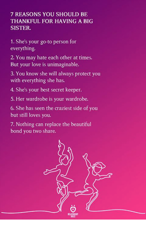 Beautiful, Love, and Best: 7 REASONS YOU SHOULD BE  THANKFUL FOR HAVING A BIG  SISTER  1. She's your go-to person for  everything  2. You may hate each other at times.  But your love is unimaginable.  3. You know she will always protect you  with everything she has.  4. She's your best secret keeper.  5. Her wardrobe is your wardrobe.  6. She has seen the craziest side of you  but still loves you.  7. Nothing can replace the beautiful  bond you two share.
