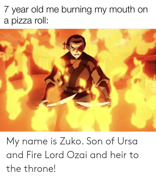 Fire, Pizza, and Old: 7 year old me burning my mouth on  a pizza roll: My name is Zuko. Son of Ursa and Fire Lord Ozai and heir to the throne!