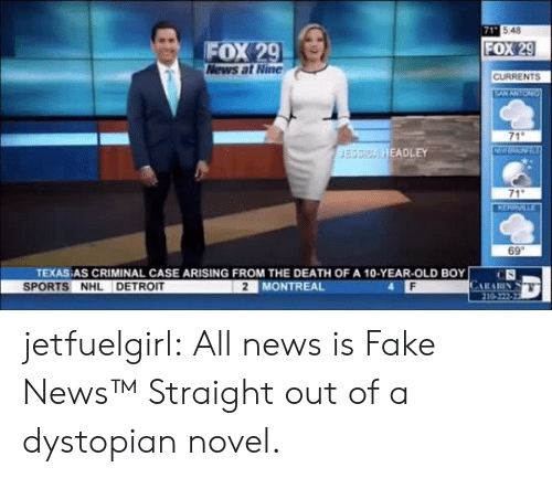 Fake News: 71 548  FOX 29  News at Nine  FOX 29  CURRENTS  EANANTON  71  NW  JESSICA HEADLEY  71  KERRVILLE  69  TEXAS AS CRIMINAL CASE ARISING FROM THE DEATH OF A 10-YEAR-OLD BOY  CS  CARARIN  210-222-22  SPORTS NHL DETROIT  2 MONTREAL jetfuelgirl:  All news is Fake News™  Straight out of a dystopian novel.
