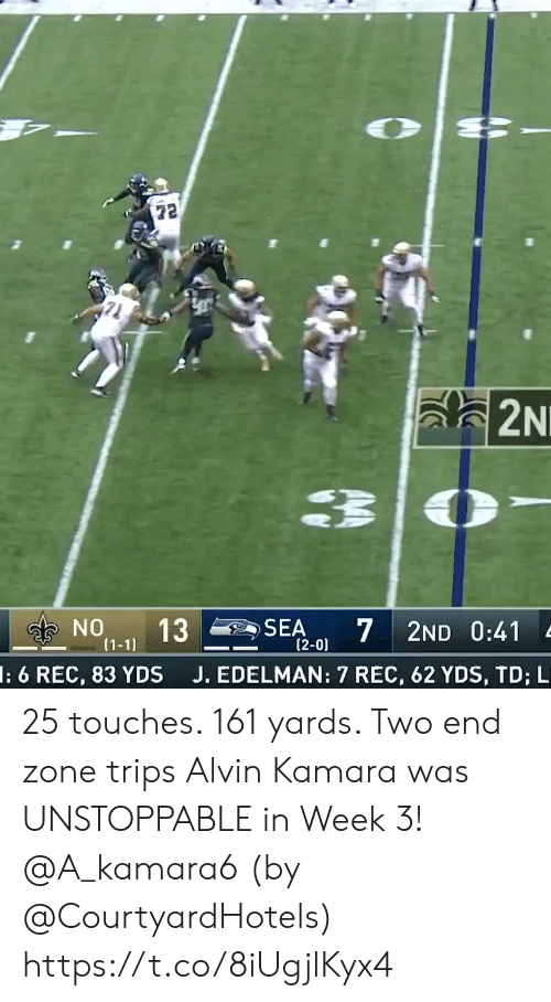 Memes, 🤖, and Rec: 72  a2N  NO  13  7  SEA  2ND 0:41  (1-1)  (2-0)  J. EDELMAN: 7 REC, 62 YDS, TD; L  l: 6 REC, 83 YDS 25 touches. 161 yards. Two end zone trips  Alvin Kamara was UNSTOPPABLE in Week 3! @A_kamara6   (by @CourtyardHotels) https://t.co/8iUgjlKyx4
