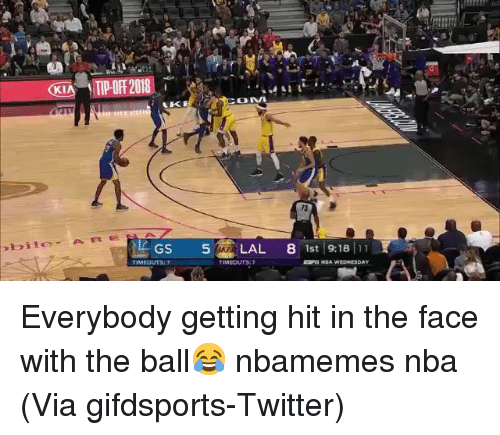 Getting Hit: 73  TIMEOUT Everybody getting hit in the face with the ball😂 nbamemes nba (Via gifdsports-Twitter)