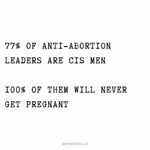 Pregnant, Abortion, and Never: 77% OF ANTI-ABORTION  LEADERS ARE CIS MEN  I00% OF THEM WILL NEVER  GET PREGNANT  @FEMESTELLA