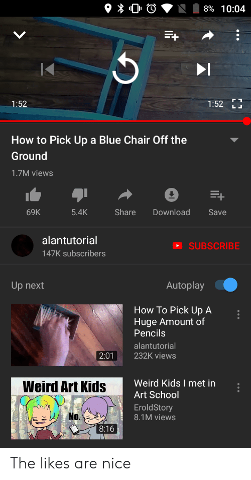 Alantutorial: 8% 10:04  1:52  1:52  L D  How to Pick Up a Blue Chair Off the  Ground  1.7M views  +  Share  Download  69K  5.4K  Save  alantutorial  SUBSCRIBE  147K subscribers  Autoplay  Up next  How To Pick Up A  Huge Amount of  Pencils  alantutorial  2:01  232K views  Weird Kids I met in  Weird Art Kids  Art School  EroldStory  No.  8.1M views  8:16 The likes are nice