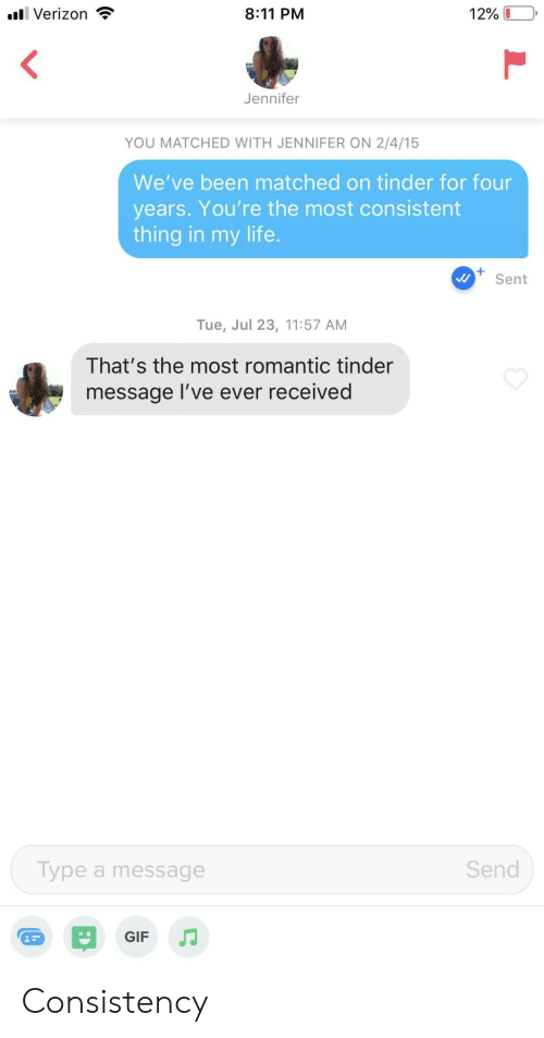 Gif, Life, and Tinder: 8:11 PM  l Verizon  12%  Jennifer  YOU MATCHED WITH JENNIFER ON 2/4/15  We've been matched on tinder for four  years. You're the most consistent  thing in my life.  Sent  Tue, Jul 23, 11:57 AM  That's the most romantic tinder  message I've ever received  Send  Type a message  GIF Consistency
