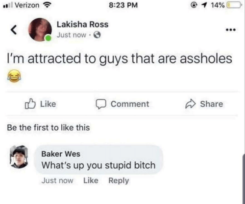 Wes: 8:23 PM  Verizon  1 14%  Lakisha Ross  Just now  I'm attracted to guys that are assholes  Like  Comment  Share  Be the first to like this  Baker Wes  What's up you stupid bitch  Just now Like Reply