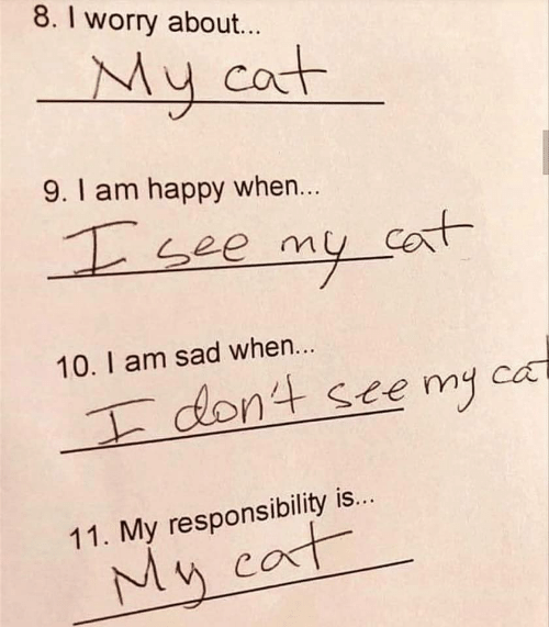 Happy, Sad, and Responsibility: 8. I worry about...  My cat  9.1 am happy when...  see my co  Cant  10. I am sad when...  dont ste my  ca  11. My responsibility is...  My cat