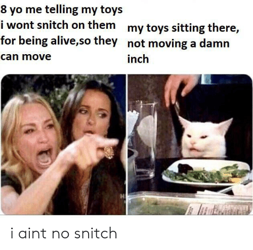 No Snitch: 8 yo me telling my toys  i wont snitch on them my toys sitting there,  for being alive,so they not moving a damn  can move  inch i aint no snitch