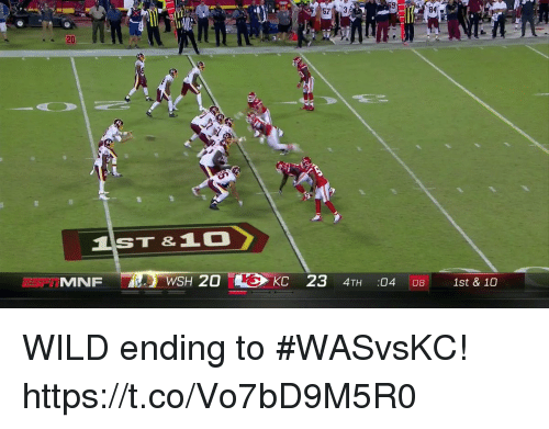 Memes, Wild, and 🤖: 84  IST&10  ESP i MNF  ie-WSH 20  KC 23 4TH :04 08 1st & 10 WILD ending to #WASvsKC! https://t.co/Vo7bD9M5R0