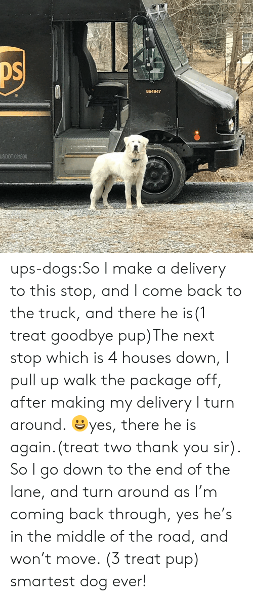 thank you sir: 864947  USDOT 021800 ups-dogs:So I make a delivery to this stop, and I come back to the truck, and there he is(1 treat goodbye pup)The next stop which is 4 houses down, I pull up walk the package off, after making my delivery I turn around. 😀yes, there he is again.(treat two thank you sir). So I go down to the end of the lane, and turn around as I'm coming back through, yes he's in the middle of the road, and won't move. (3 treat pup) smartest dog ever!