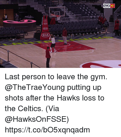 fox sports: 88 I  FOX  SPORTS Last person to leave the gym.   @TheTraeYoung putting up shots after the Hawks loss to the Celtics.   (Via @HawksOnFSSE)    https://t.co/bO5xqnqadm