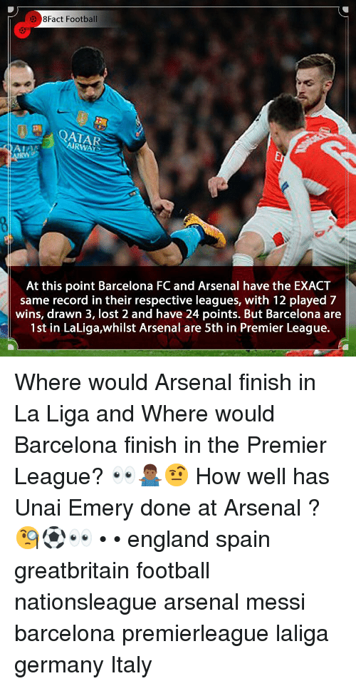 8Fact: 8Fact Football  AIRWATS  Er  At this point Barcelona FC and Arsenal have the EXACT  same record in their respective leagues, with 12 played 7  wins, drawn 3, lost 2 and have 24 points. But Barcelona are  1st in LaLiga,whilst Arsenal are 5th in Premier League. Where would Arsenal finish in La Liga and Where would Barcelona finish in the Premier League? 👀🤷🏾♂️🤨 How well has Unai Emery done at Arsenal ? 🧐⚽️👀 • • england spain greatbritain football nationsleague arsenal messi barcelona premierleague laliga germany Italy