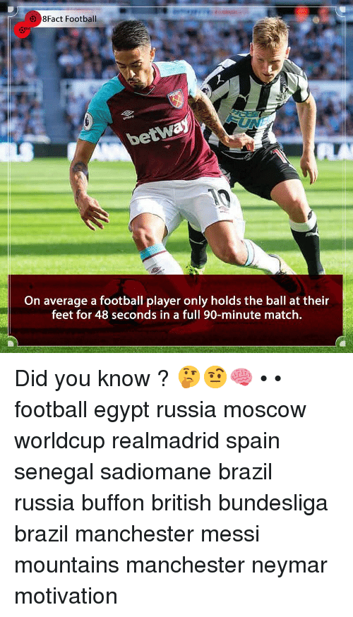 buffon: 8Fact Football  betw  On average a football player only holds the ball at their  feet for 48 seconds in a full 90-minute match. Did you know ? 🤔🤨🧠 • • football egypt russia moscow worldcup realmadrid spain senegal sadiomane brazil russia buffon british bundesliga brazil manchester messi mountains manchester neymar motivation