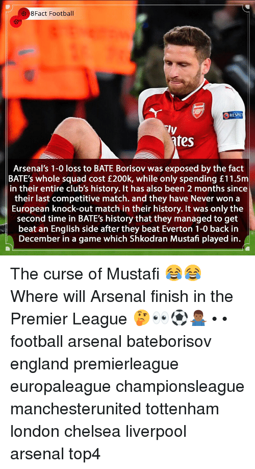 Competitive: 8Fact Football  RESPC  ly  fes  Arsenal's 1-0 loss to BATE Borisov was exposed by the fact  BATE's whole squad cost £200k, while only spending £11.5m  in their entire club's history. It has also been 2 months since  their last competitive match. and they have Never won a  European knock-out match in their history. It was only the  second time in BATE's history that they managed to get  beat an English side after they beat Everton 1-0 back in  December in a game which Shkodran Mustafi played in. The curse of Mustafi 😂😂 Where will Arsenal finish in the Premier League 🤔👀⚽️🤷🏾‍♂️ • • football arsenal bateborisov england premierleague europaleague championsleague manchesterunited tottenham london chelsea liverpool arsenal top4
