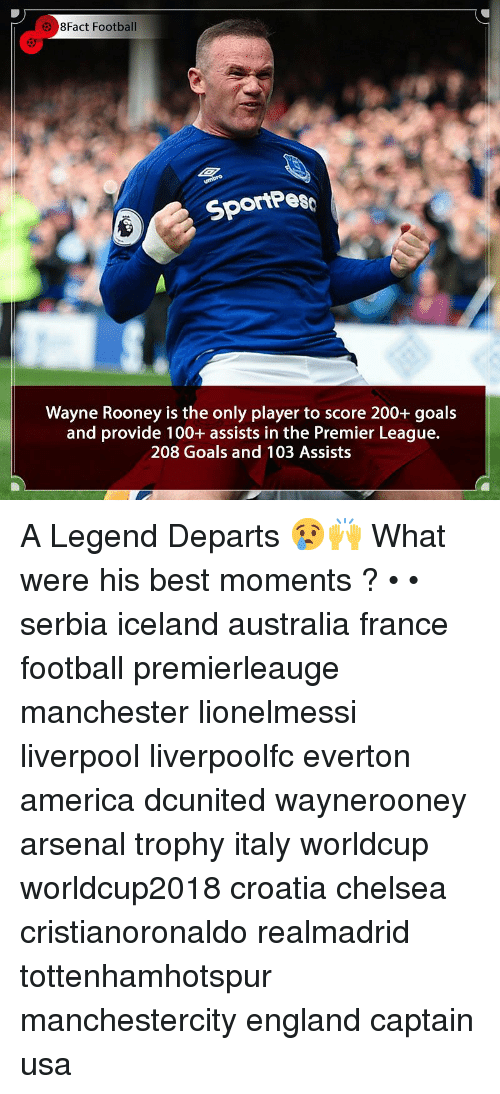 rooney: 8Fact Football  SportPes  Wayne Rooney is the only player to score 200+ goals  and provide 100+ assists in the Premier League.  208 Goals and 103 Assists A Legend Departs 😢🙌 What were his best moments ? • • serbia iceland australia france football premierleauge manchester lionelmessi liverpool liverpoolfc everton america dcunited waynerooney arsenal trophy italy worldcup worldcup2018 croatia chelsea cristianoronaldo realmadrid tottenhamhotspur manchestercity england captain usa