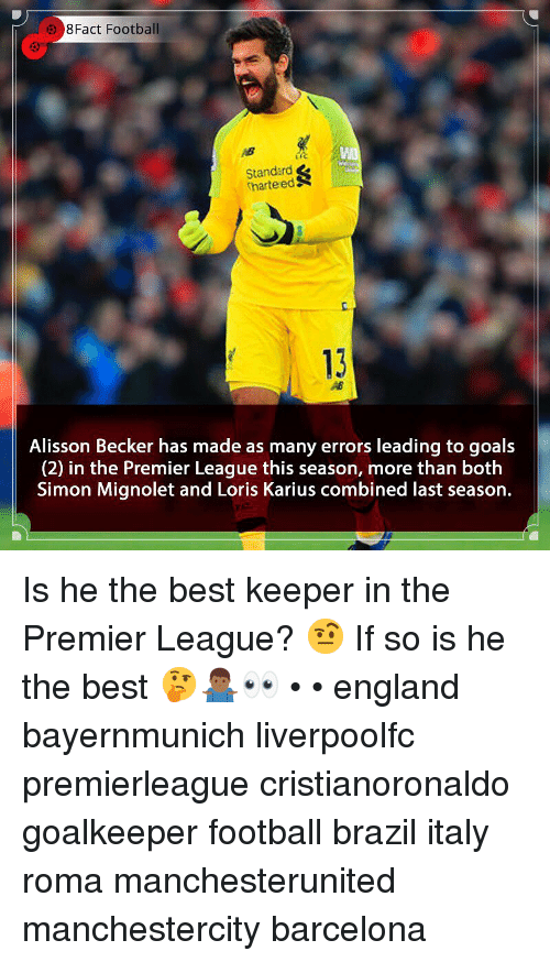 roma: 8Fact Football  Standard  harteedS  c.  13  Alisson Becker has made as many errors leading to goals  (2) in the Premier League this season, more than both  Simon Mignolet and Loris Karius combined last season. Is he the best keeper in the Premier League? 🤨 If so is he the best 🤔🤷🏾‍♂️👀 • • england bayernmunich liverpoolfc premierleague cristianoronaldo goalkeeper football brazil italy roma manchesterunited manchestercity barcelona