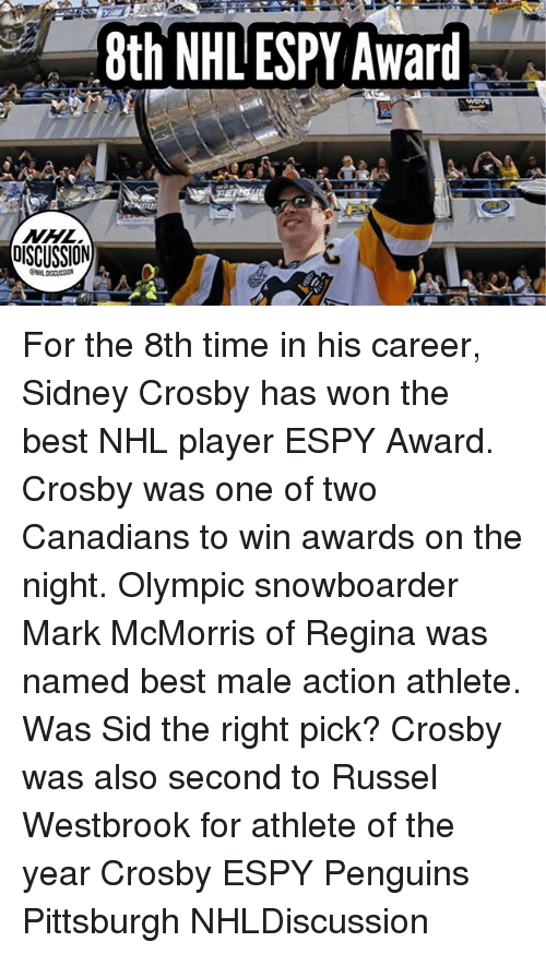 sids: 8th NHL ESPY Award . For the 8th time in his career, Sidney Crosby has won the best NHL player ESPY Award. Crosby was one of two Canadians to win awards on the night. Olympic snowboarder Mark McMorris of Regina was named best male action athlete. Was Sid the right pick? Crosby was also second to Russel Westbrook for athlete of the year Crosby ESPY Penguins Pittsburgh NHLDiscussion