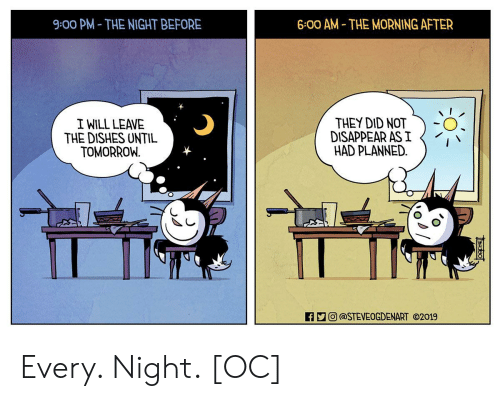 eco: 9:00 PM- THE NIGHT BEFORE  6:00 AM THE MORNING AFTER  I WILL LEAVE  THE DISHES UNTIL  TOMORROW  THEY DID NOT  DISAPPEAR AS I  HAD PLANNED.  0  ECO) @STEVEOGDENART ⓒ2019 Every. Night. [OC]