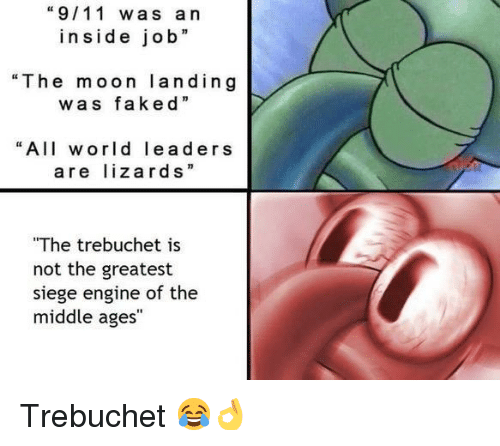 """trebuchet: """"9/11 was a n  inside job  """"The moon landing  was """"  faked  """"All world leaders  are lizards""""  The trebuchet is  not the greatest  siege engine of the  middle ages <p>Trebuchet 😂👌</p>"""