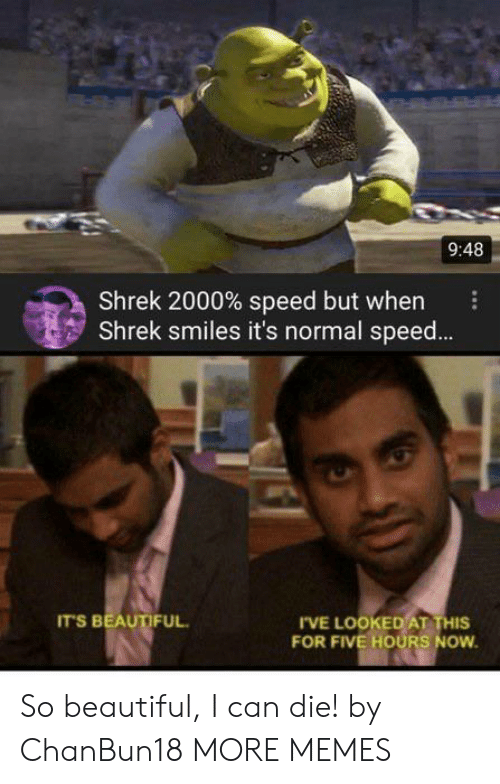 Shrek: 9:48  Shrek 2000% speed but when  Shrek smiles it's normal spee...  IT'S BEAUTIFUL  IVE LOOKED AT THIS  FOR FIVE HOURS NOW So beautiful, I can die! by ChanBun18 MORE MEMES