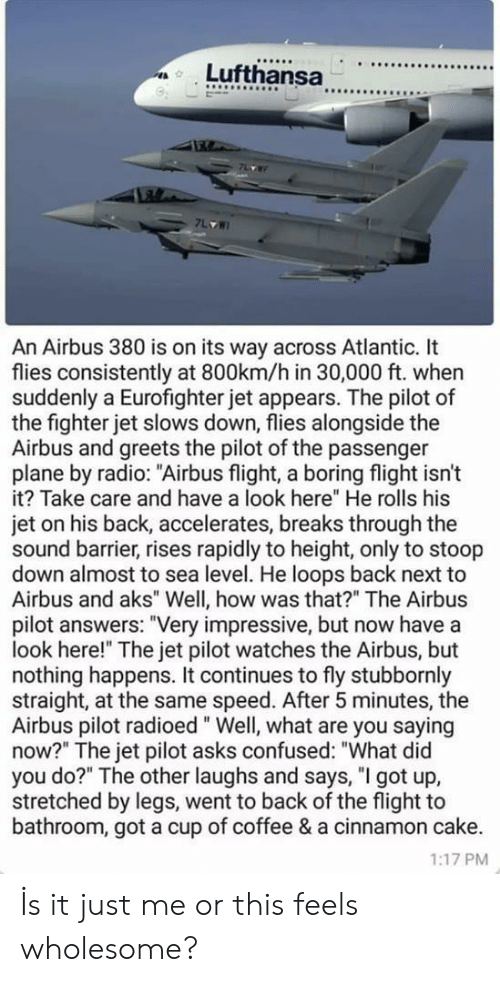 "What Did You Do: 9  An Airbus 380 is on its way across Atlantic. It  flies consistently at 800km/h in 30,000 ft. when  suddenly a Eurofighter jet appears. The pilot of  the fighter jet slows down, flies alongside the  Airbus and greets the pilot of the passenger  plane by radio: ""Airbus flight, a boring flight isn't  it? Take care and have a look here"" He rolls his  jet on his back, accelerates, breaks through the  sound barrier, rises rapidly to height, only to stoop  down almost to sea level. He loops back next to  Airbus and aks"" Well, how was that?"" The Airbus  pilot answers: ""Very impressive, but now have a  look here!"" The jet pilot watches the Airbus, but  nothing happens. It continues to fly stubbornly  straight, at the same speed. After 5 minutes, the  Airbus pilot radioed"" Well, what are you saying  now?"" The jet pilot asks confused: ""What did  you do?"" The other laughs and says, ""I got up,  stretched by legs, went to back of the flight to  bathroom, got a cup of coffee & a cinnamon cake.  1:17 PM İs it just me or this feels wholesome?"