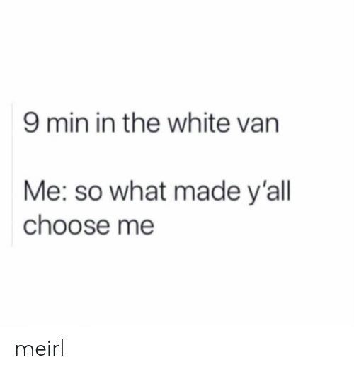 van: 9 min in the white van  Me: so what made y'all  choose me meirl
