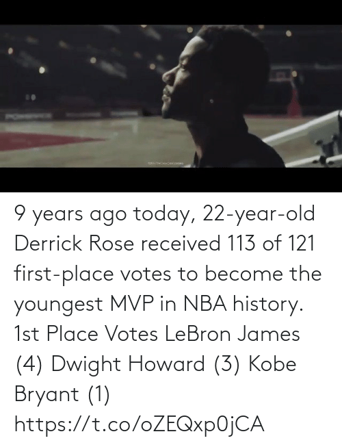 Kobe Bryant: 9 years ago today, 22-year-old Derrick Rose received 113 of 121 first-place votes to become the youngest MVP in NBA history.   1st Place Votes LeBron James (4) Dwight Howard (3) Kobe Bryant (1) https://t.co/oZEQxp0jCA