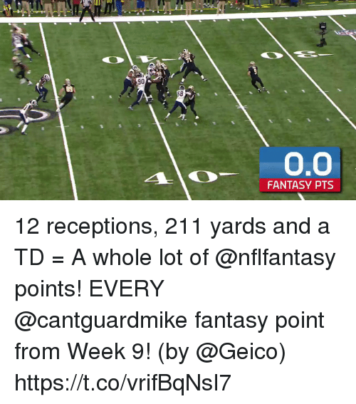Memes, 🤖, and Geico: 90  58  FANTASY PTS 12 receptions, 211 yards and a TD = A whole lot of @nflfantasy points!  EVERY @cantguardmike fantasy point from Week 9! (by @Geico) https://t.co/vrifBqNsI7
