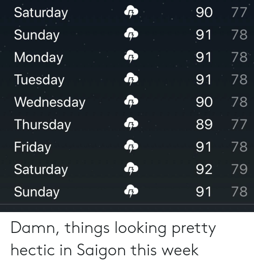 Friday, Wednesday, and Monday: 90 77  Saturday  78  Sunday  91  Monday  91  78  78  Tuesday  91  Wednesday  78  90  89  77  Thursday  Friday  91  78  79  Saturday  92  78  Sunday  91 Damn, things looking pretty hectic in Saigon this week
