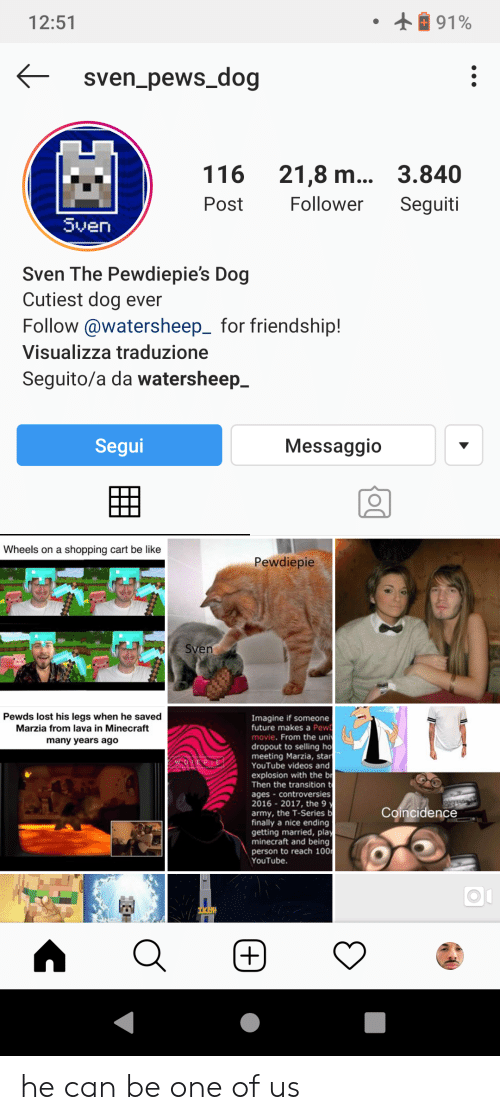Be Like, Future, and Minecraft: 91%  12:51  sven_pews_dog  116  21,8 m... 3.840  Follower  Post  Seguiti  Sven  Sven The Pewdiepie's Dog  Cutiest dog ever  Follow@watersheep_ for friendship!  Visualizza traduzione  Seguito/a da watersheep_  Segui  Messaggio  Wheels on a shopping cart be like  Pewdiepie  Sven  Pewds lost his legs when he saved  Marzia from lava in Minecraft  Imagine if someone  future makes a Pew  movie. From the uni  dropout to selling ho  meeting Marzia, star  YouTube videos and  many years ago  explosion with the br  Then the transition t  ages controversies  2016 2017, the 9 y  army, the T-Series b  finally a nice ending  getting married, play  minecraft and being  person to reach 100  YouTube.  Coincidence  TKEN he can be one of us