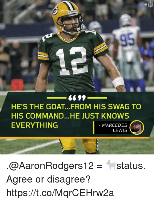 Memes, Swag, and Goat: 95  HE'S THE GOAT...FROM HIS SWAG TO  HIS COMMAND...HE JUST KNOWS  EVERYTHING !  MARCEDES  LEWIS .@AaronRodgers12 = 🐐status.  Agree or disagree? https://t.co/MqrCEHrw2a