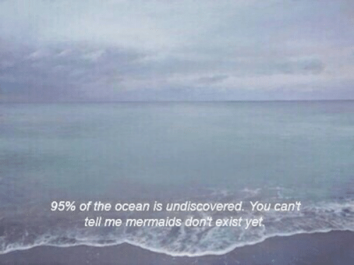 Mermaids, Ocean, and You: 95% of the ocean is undiscovered. You can't  tell me mermaids don't exist yet