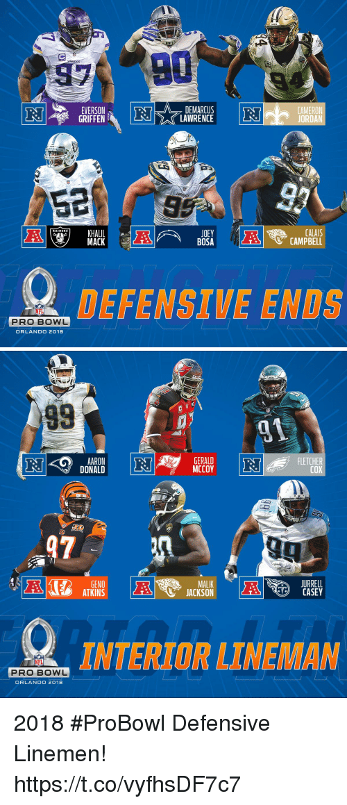atkins: 97  EVERSON  GRIFFEN  DEMARCUS  LAWRENCE  CAMERON  JEYCAMPBELL  BOSA  CALA  RAIDERS  MACK  DEFENSIVE ENDS  NFL  PRO BOWL  ORLANDO 2018   98  AARON  DONALD  GERALD  FLETCHER  COX  GS  97-M  GENO  ATKINS  MALIK  JURRELL  CASEY  DOTTERUKOR LLNER LAN  PRO BOWL  ORLANDO 2018 2018 #ProBowl Defensive Linemen! https://t.co/vyfhsDF7c7