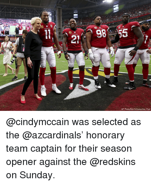 Memes, Washington Redskins, and Pool: 98 55  DI  ZOBU  AP Photo/Rob Schumacher, Pool @cindymccain was selected as the @azcardinals' honorary team captain for their season opener against the @redskins on Sunday.