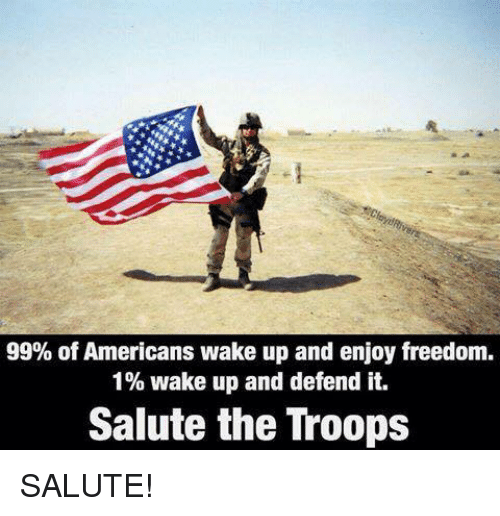 the troop: 99% of Americans wake up and enjoy freedom.  1% wake up and defend it.  Salute the Troops SALUTE!