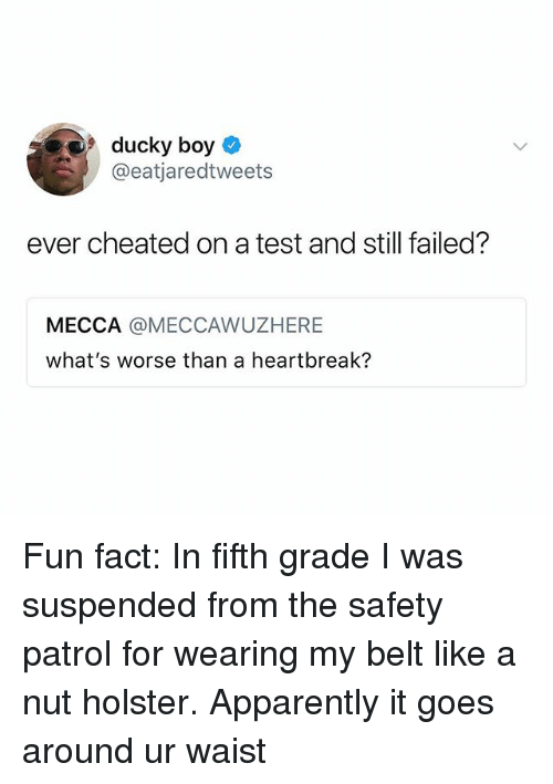 Apparently, Test, and Dank Memes: 9ducky boy  @eatjaredtweets  ever cheated on a test and still failed?  MECCA @MECCAWUZHERE  what's worse than a heartbreak? Fun fact: In fifth grade I️ was suspended from the safety patrol for wearing my belt like a nut holster. Apparently it goes around ur waist
