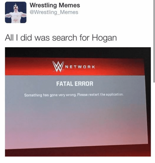 Wrestling Memes: LA Wrestling Memes  Wrestling Memes  All I did was search for Hogan  M NETWORK  FATAL ERROR  Something has gone very wrong. Please restart the application.