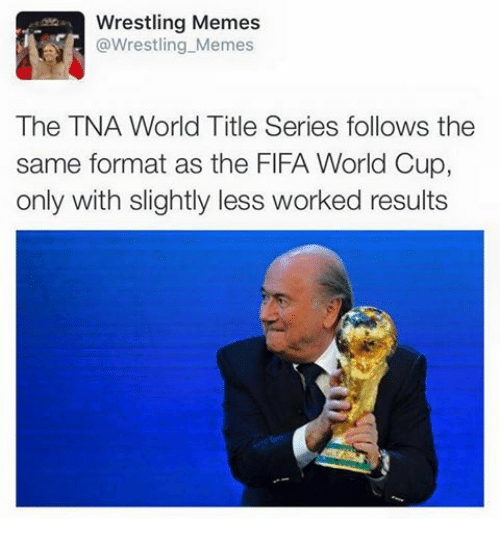 Wrestling Memes: Wrestling Memes  @Wrestling Memes  The TNA World Title Series follows the  same format as the FlFA World Cup,  only with slightly less worked results