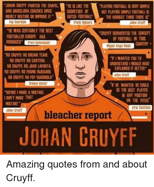 """Barcelona, Paintings, and Soccer: """"JOHAN CRUYFF PAINTED THE CHAPEL  """"HEISLKE THE  PLAYING FOOTBALL IS VERY SMPLE  AND BARCELONA COACHES SINCE  GODFATHER OF  BUT PLAYING SIMPLE FOOTBALL IS  MERELY RESTORE OR MPROVE IT"""" DUTCH FOOTBALL  THE HARDEST THING THERE IS  Frank  """"HE WAS CERTAINLY THE BEST  """"CRUYFF REINVENTED THE CONCEPT  FOOTBALLER EUROPE HAS  OF FOOTBALL IN THIS  PRODUCED""""  Miguel Angel Nadel  NO CRUYFE NO DREAM TEAM.  """"FIWANTED YOU TO  NO CRUYFE NO CANTERA.  UNDERSTANDIWOULD HAVE  NO CRUYFE NO JOAN LAPORTA  EPLAINED IT BETTER""""  NO CRUYFE NO FRANK RUKAARD  Johan Cruyff  NO CRUYFF NO PEP GUARDIOLA""""  nF HE WANTED HE COULD  BE THE BEST PLAYER  """"BEFORE IMAKEAMISTAKE,  IN ANY POSITION  I DONT MAKE THAT  ON THE PITCH  MISTAKE""""  ENIC Cantona  bleacher report  JOHAN CRUYFF Amazing quotes from and about Cruyff."""