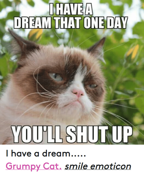 Cat Smiling: HAVEA  DREAM THAT ONE DAY  YOU SHUT UP I have a dream..... Grumpy Cat. smile emoticon