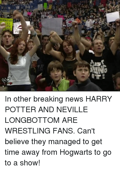 Neville Longbottomed: OISTAFI In other breaking news HARRY POTTER AND NEVILLE LONGBOTTOM ARE WRESTLING FANS. Can't believe they managed to get time away from Hogwarts to go to a show!